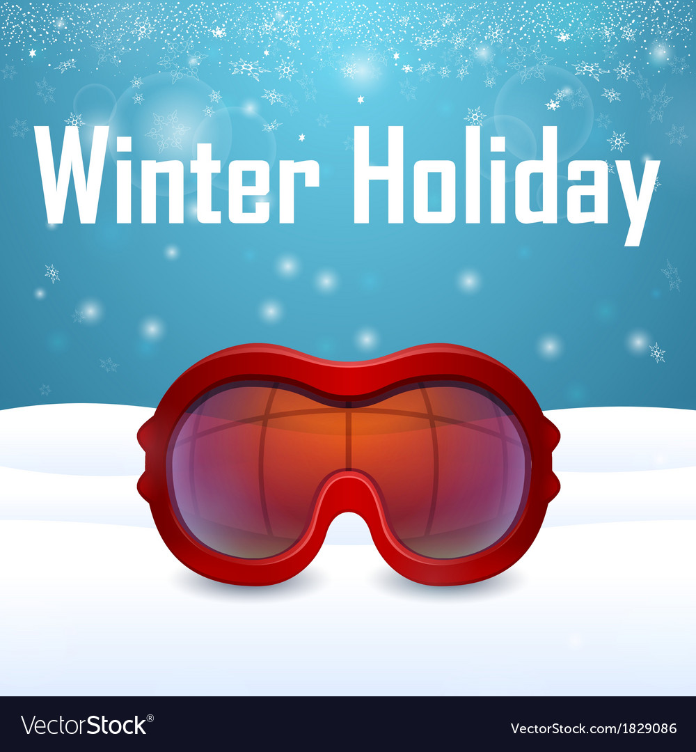 Outside close up red ski goggles vector | Price: 1 Credit (USD $1)