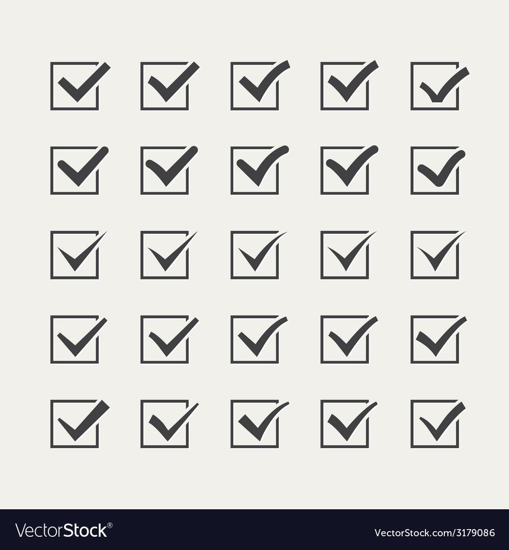 Set of twenty-five different grey ticks or check vector | Price: 1 Credit (USD $1)