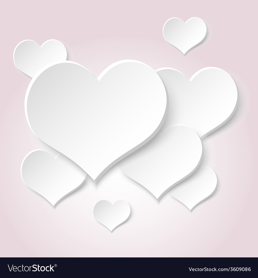 White valentine hearths from paper decoration vector | Price: 1 Credit (USD $1)