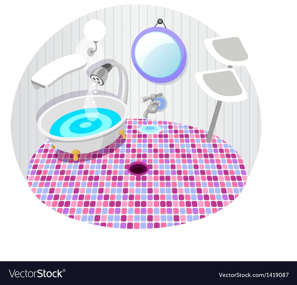 Bathroom with bath tub vector | Price: 1 Credit (USD $1)