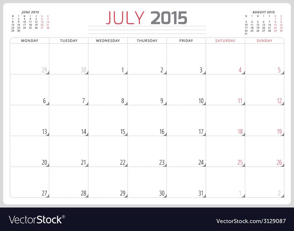 Calendar planner 2015 template week starts monday vector   Price: 1 Credit (USD $1)
