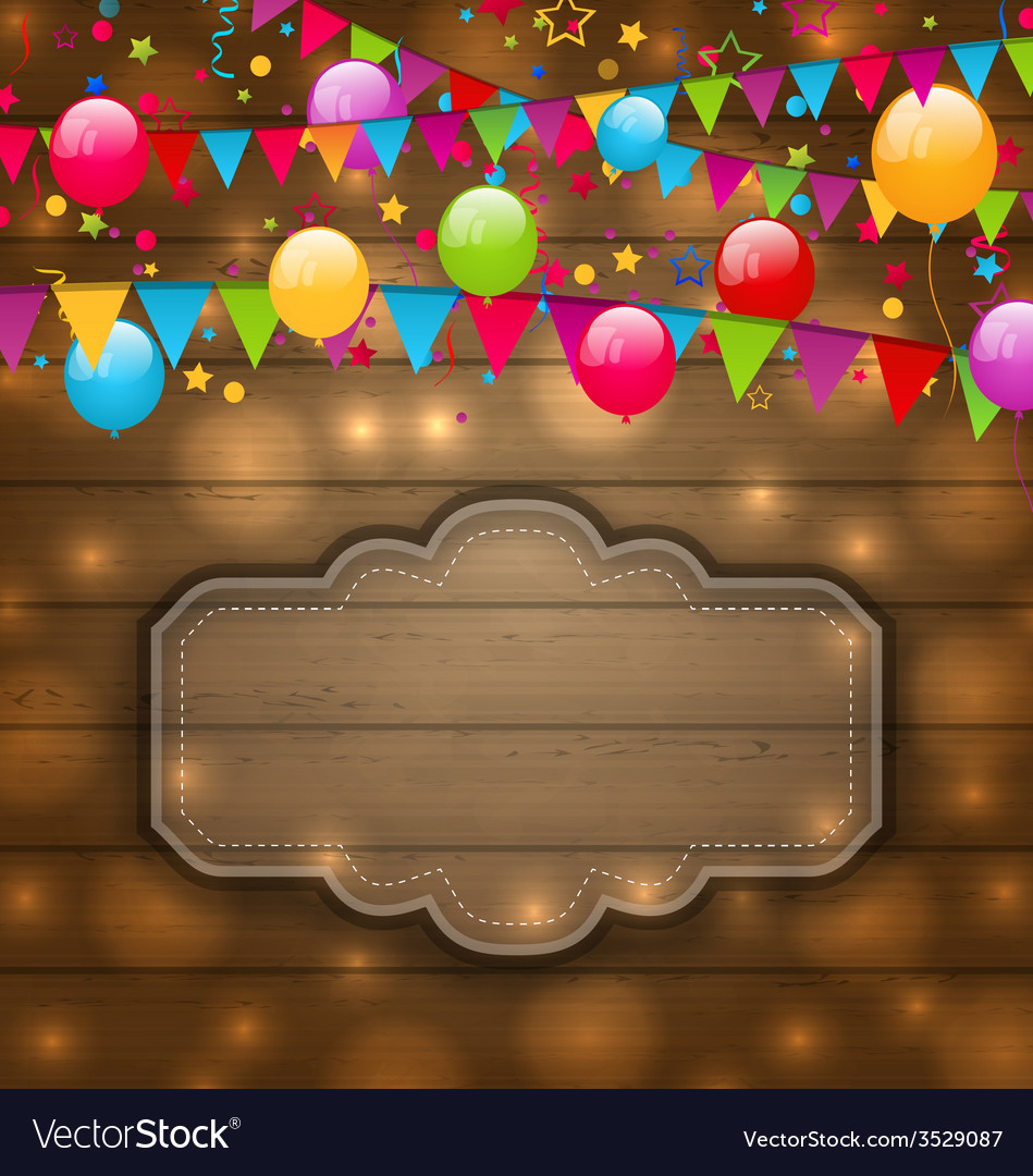 Colorful balloons hanging flags on wooden texture vector | Price: 1 Credit (USD $1)