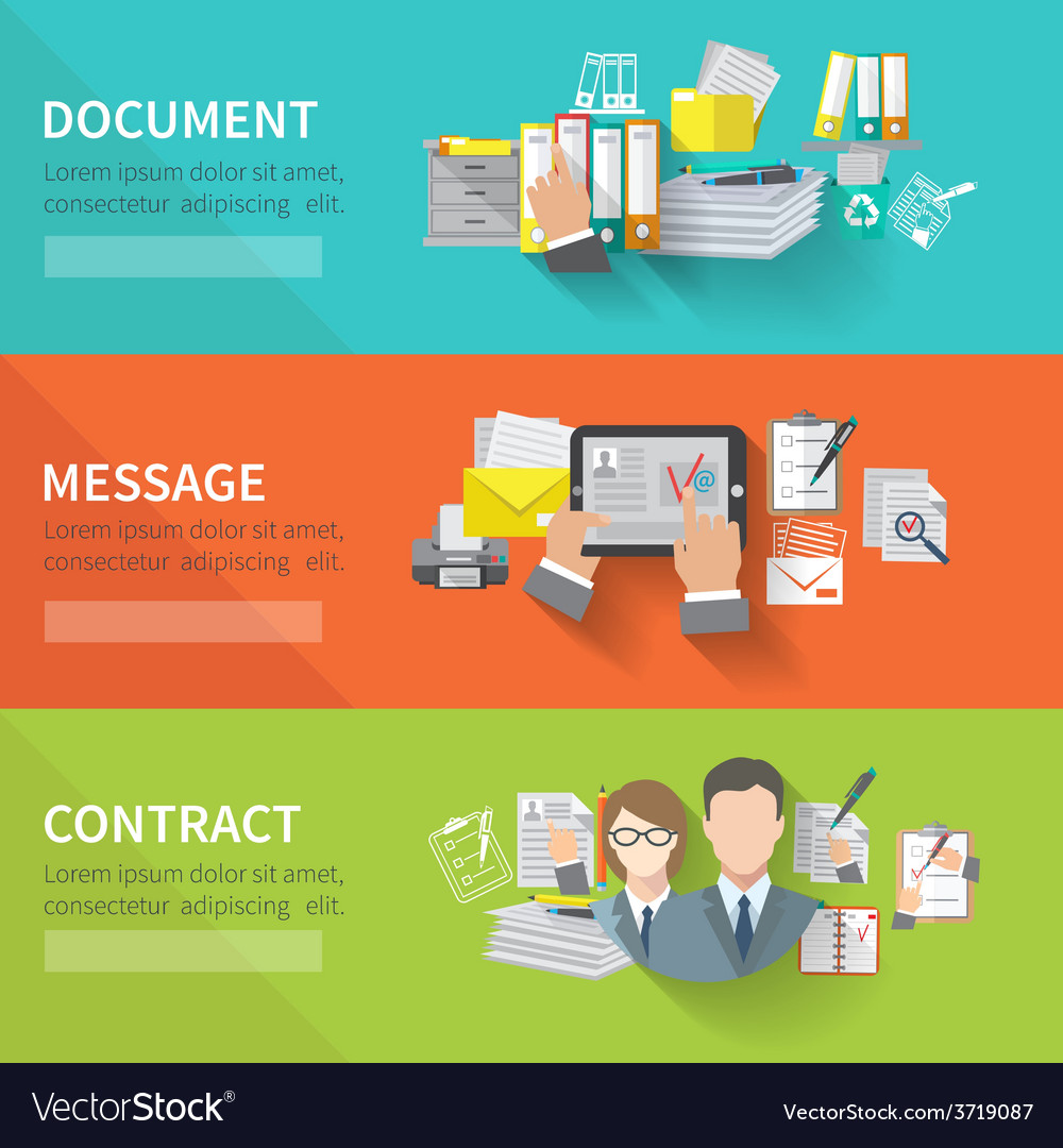 Document banner set vector | Price: 1 Credit (USD $1)