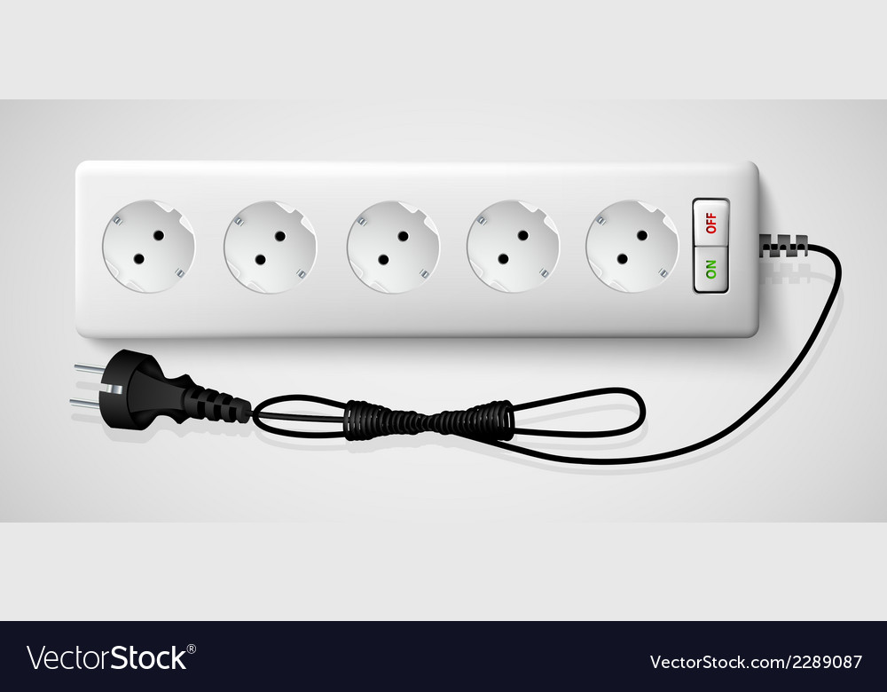 Electrical power strip with a switch vector | Price: 1 Credit (USD $1)