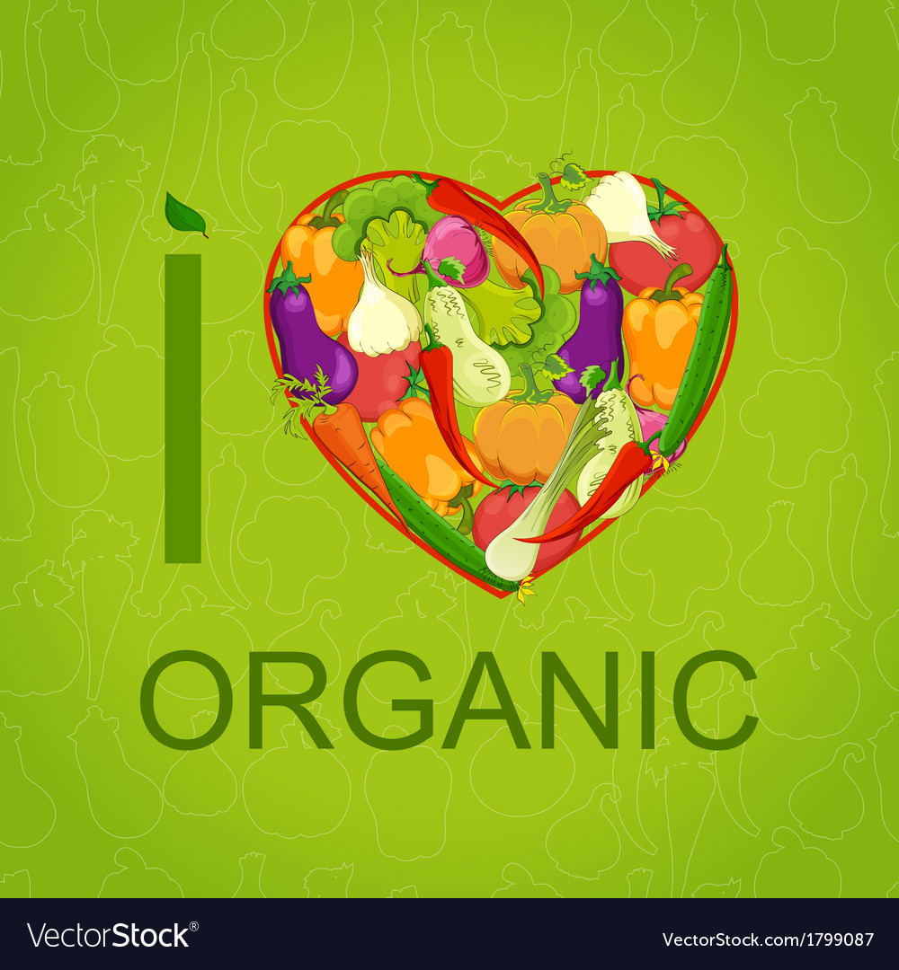 Healthy food concept heart shape with organic vector | Price: 1 Credit (USD $1)