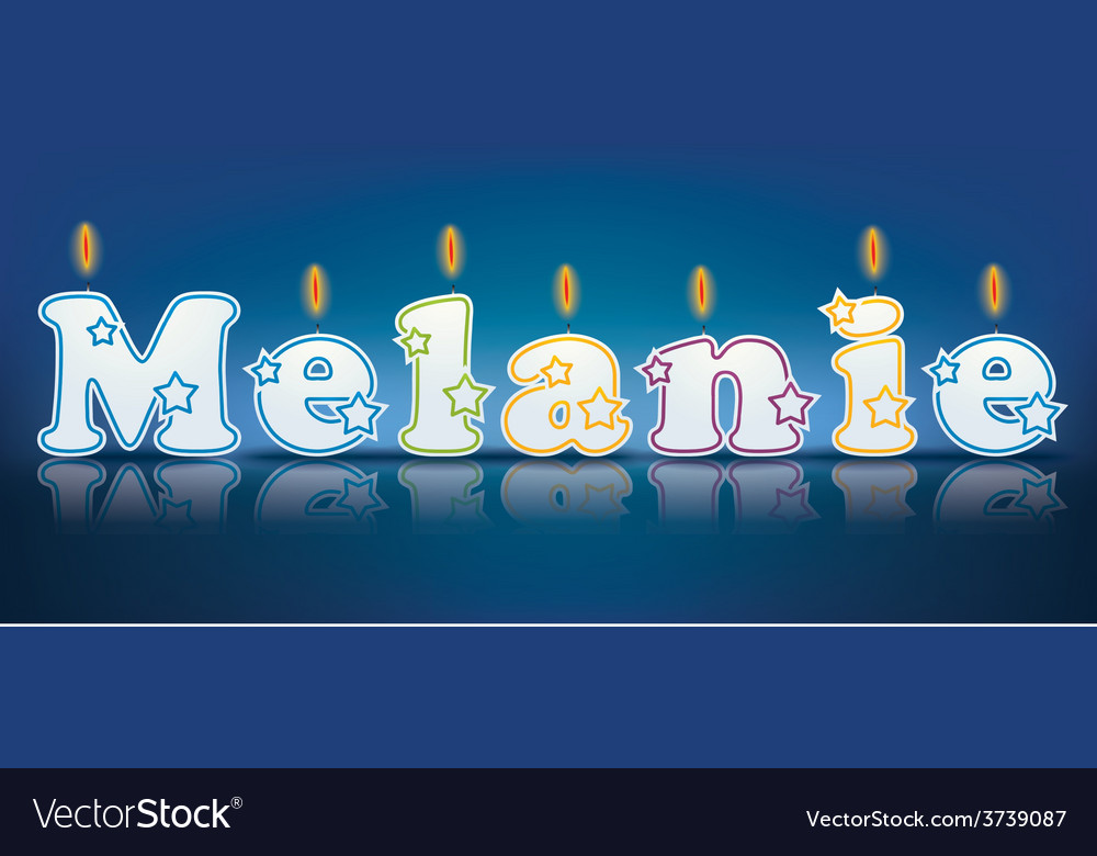 Melanie written with burning candles vector | Price: 1 Credit (USD $1)