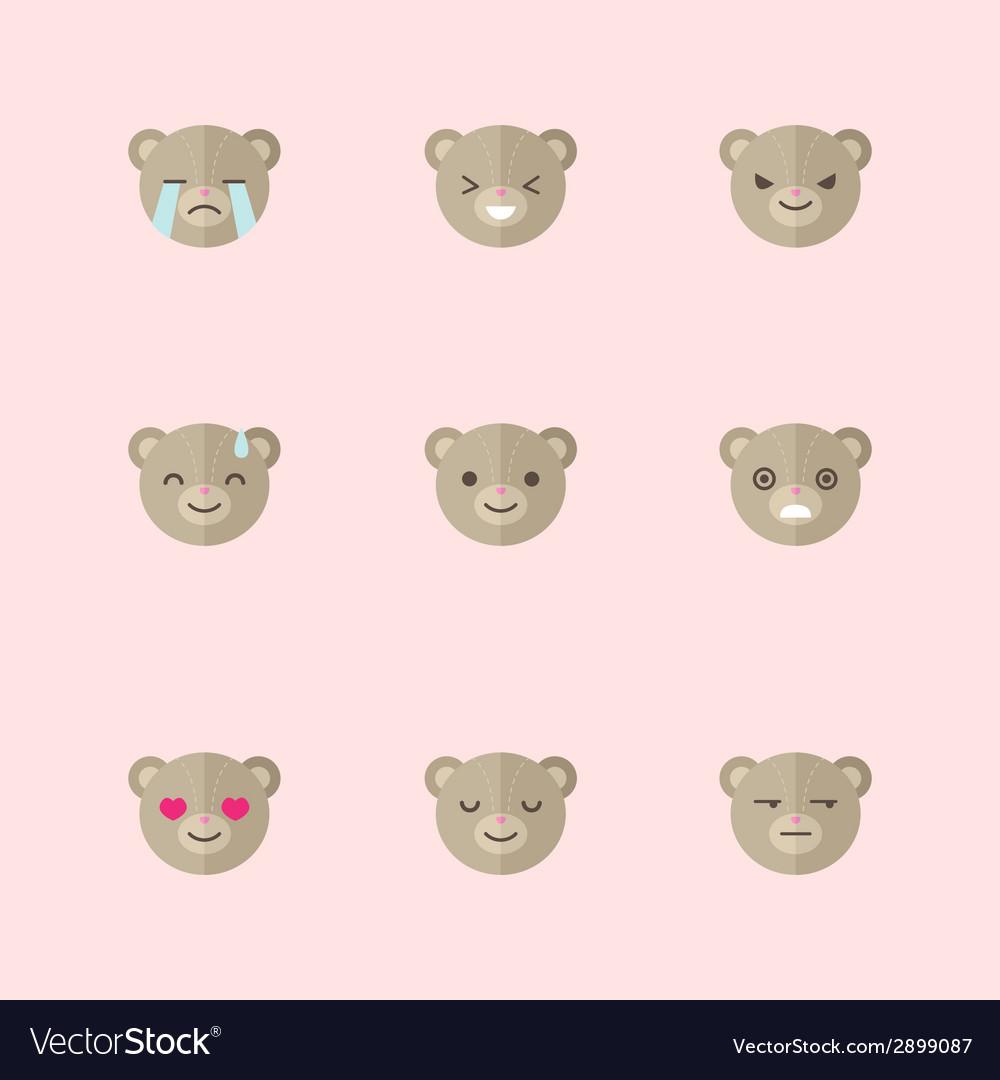 Minimalistic flat bear emotions icon set vector | Price: 1 Credit (USD $1)