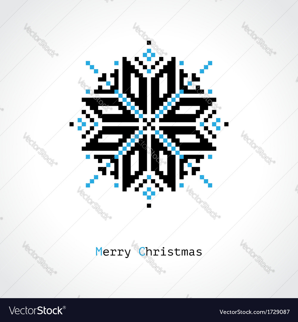 Pixel snowflake vector | Price: 1 Credit (USD $1)