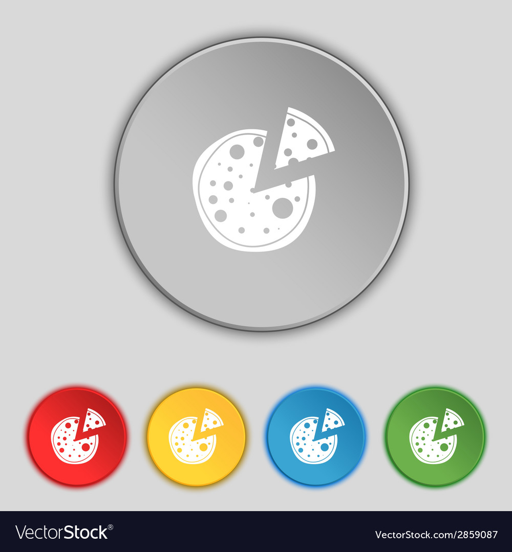 Pizza icon set colourful buttons sign vector   Price: 1 Credit (USD $1)
