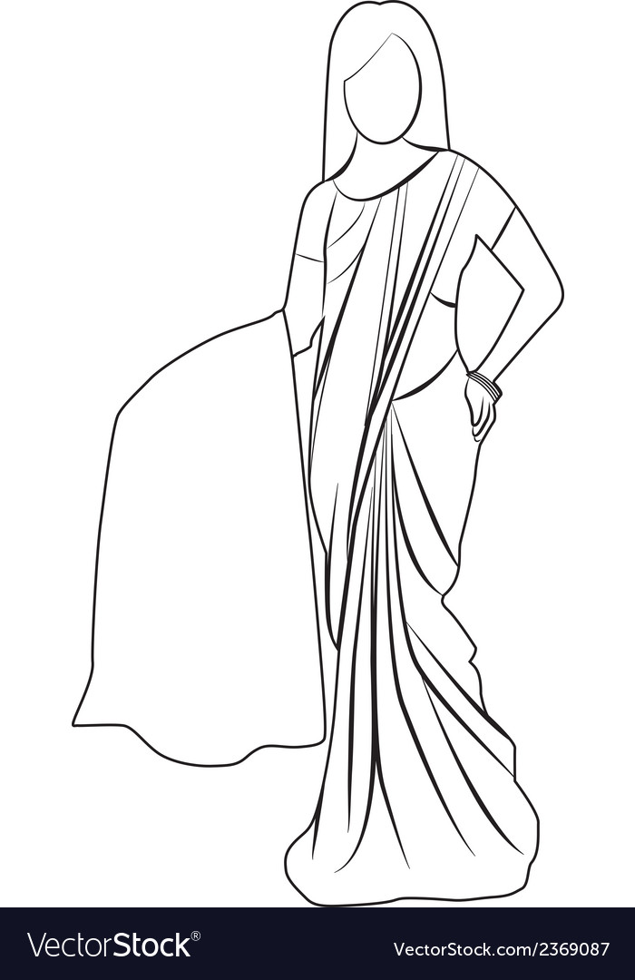 Saree outline vector | Price: 1 Credit (USD $1)