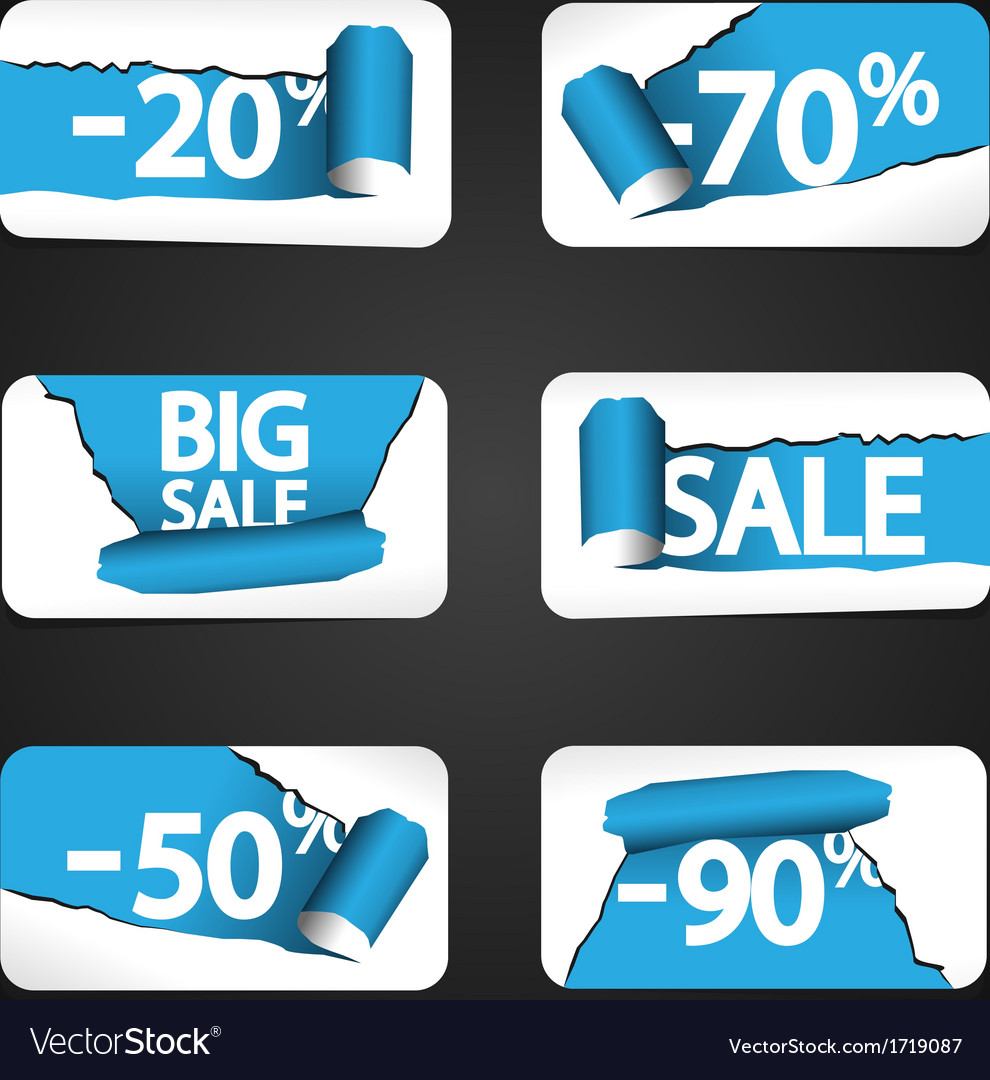 Set of paper stickers for stock sales vector   Price: 1 Credit (USD $1)