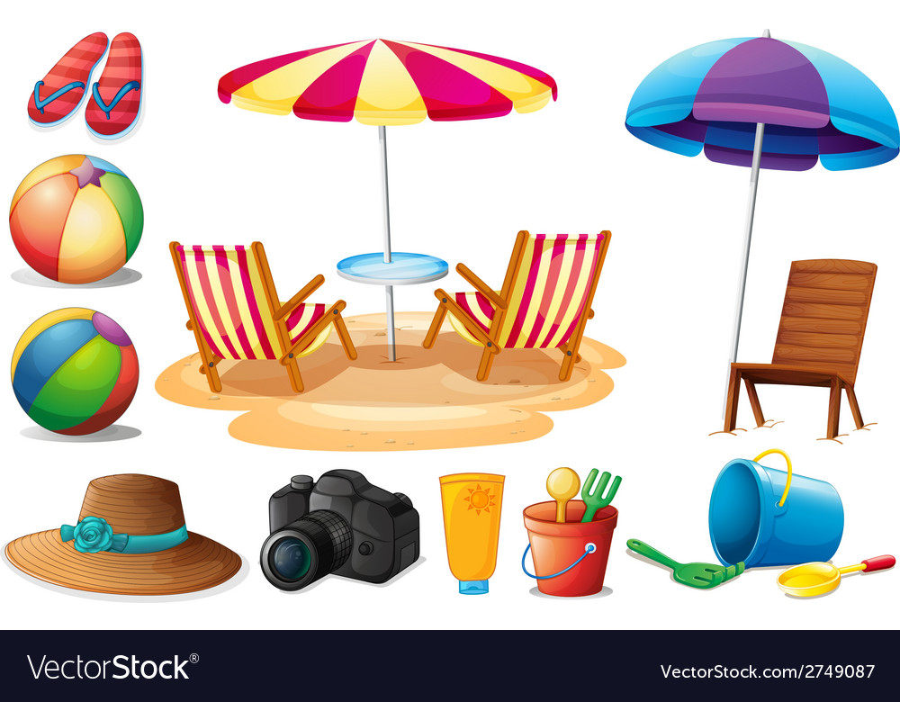 Things found at the beach during summer vector | Price: 1 Credit (USD $1)