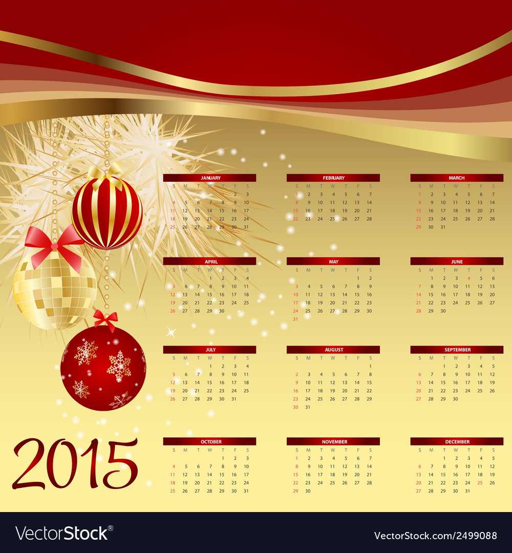 2015 new year calendar vector | Price: 1 Credit (USD $1)