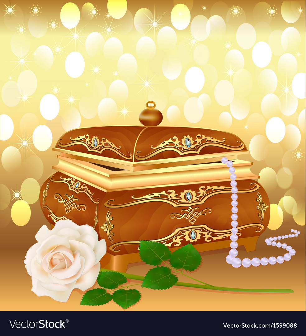 Background casket with pearls vector | Price: 1 Credit (USD $1)