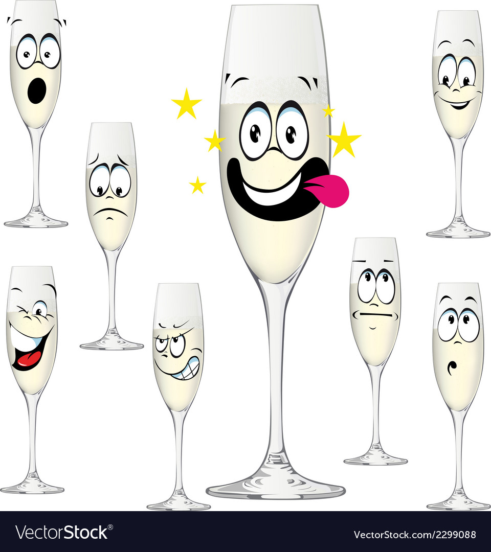 Bottle of champagne funny cartoon vector | Price: 1 Credit (USD $1)