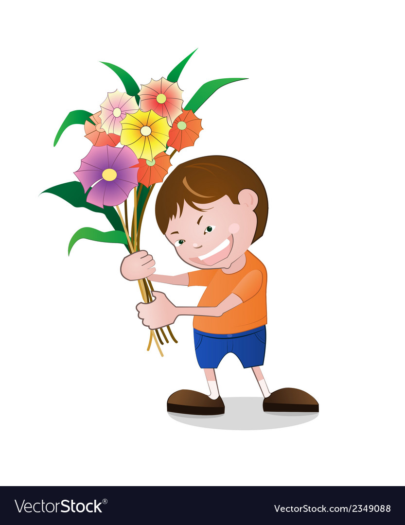 Boy holding flowers vector | Price: 1 Credit (USD $1)