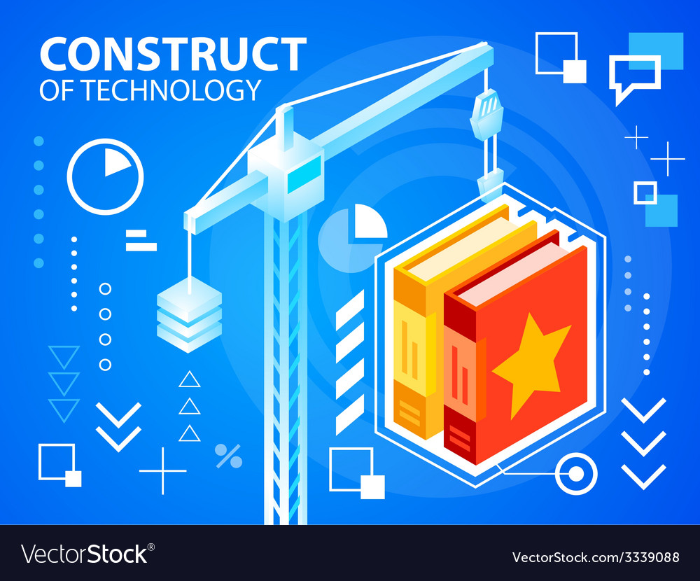 Bright construct crine and books on blue bac vector | Price: 3 Credit (USD $3)