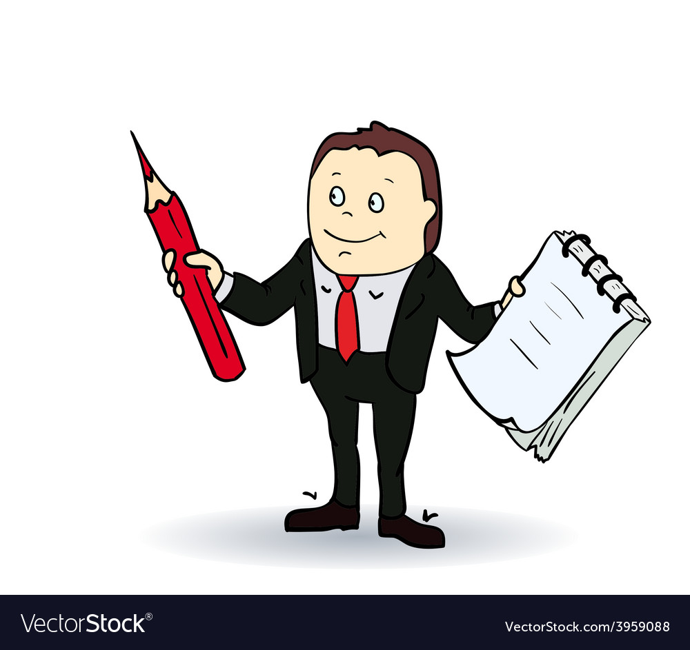 Cartoon person with blank spiral notepad and a vector | Price: 1 Credit (USD $1)