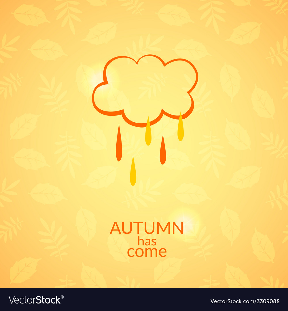 Cloud with raindrops autumn icon vector | Price: 1 Credit (USD $1)