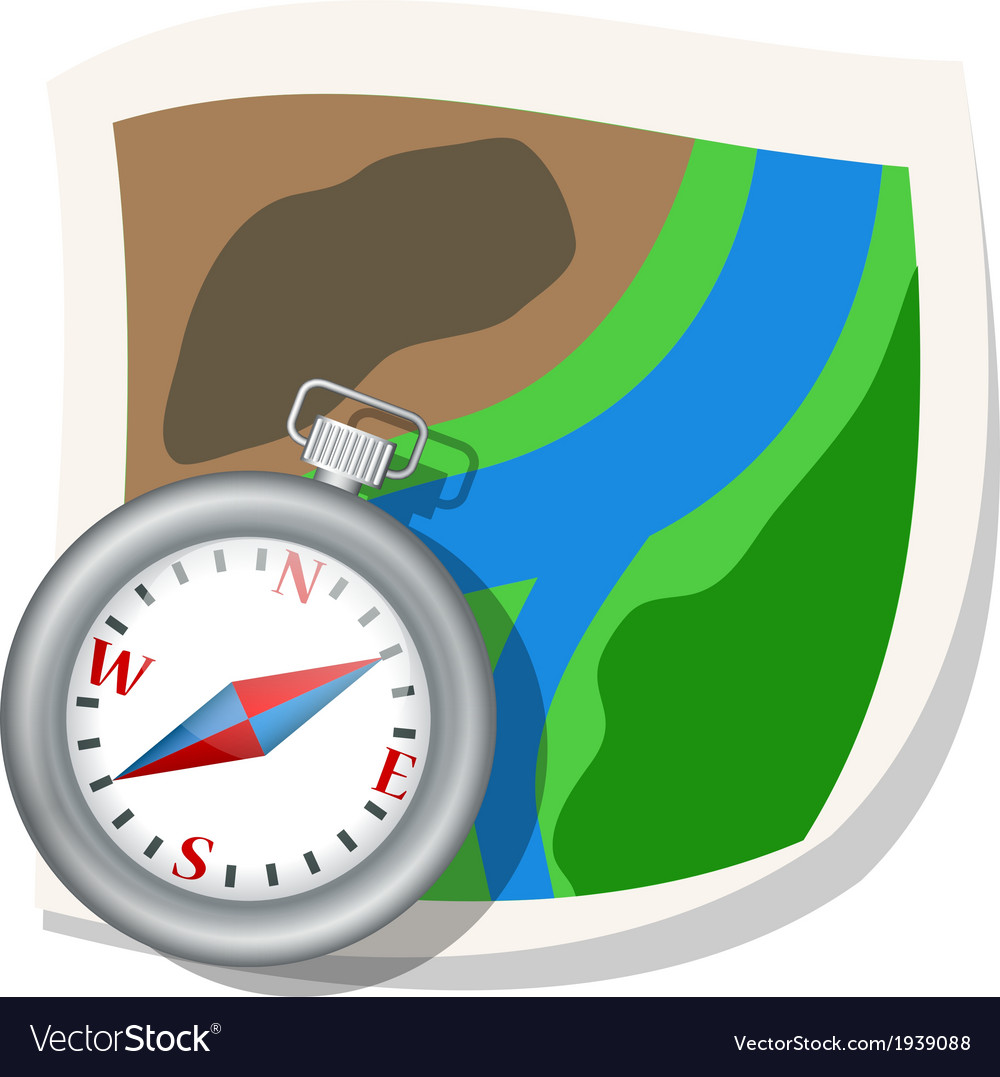 Compass and map vector | Price: 1 Credit (USD $1)