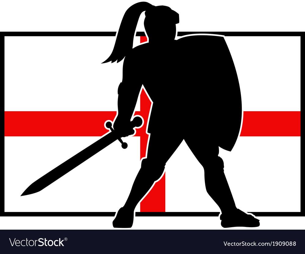 English knight shield sword england flag retro vector | Price: 1 Credit (USD $1)