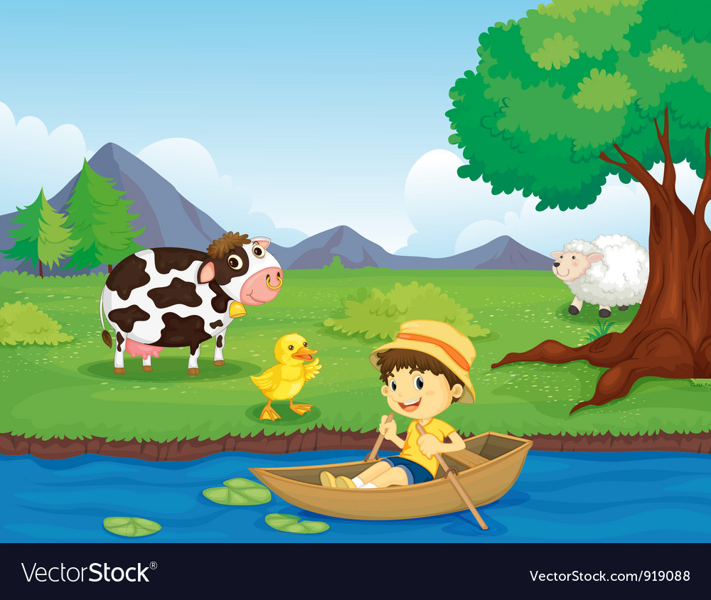 Farm scene vector | Price: 3 Credit (USD $3)