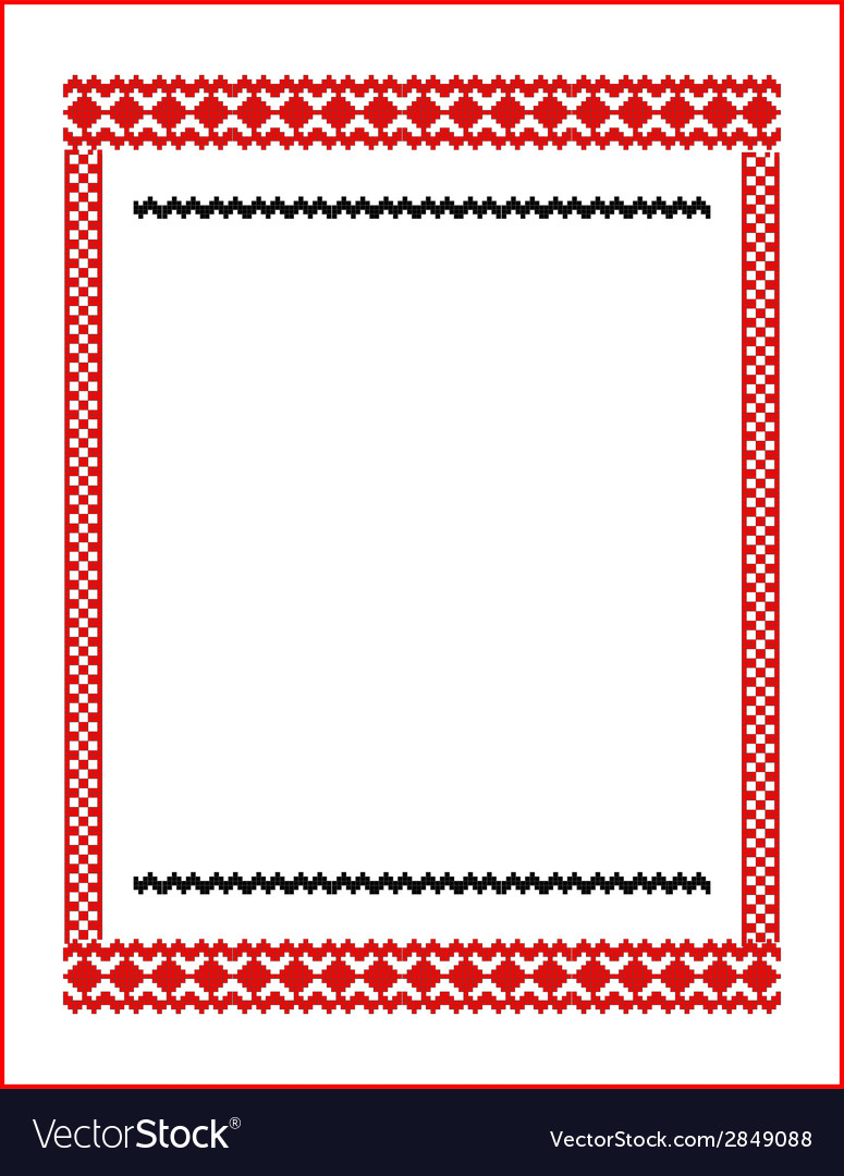 Frame for cross-stitch embroidery red colors vector | Price: 1 Credit (USD $1)