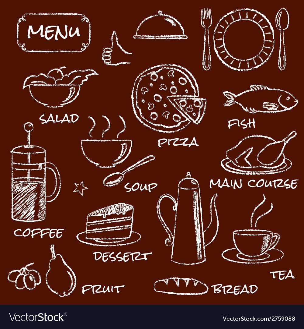 Hand drawn menu elements set vector | Price: 1 Credit (USD $1)