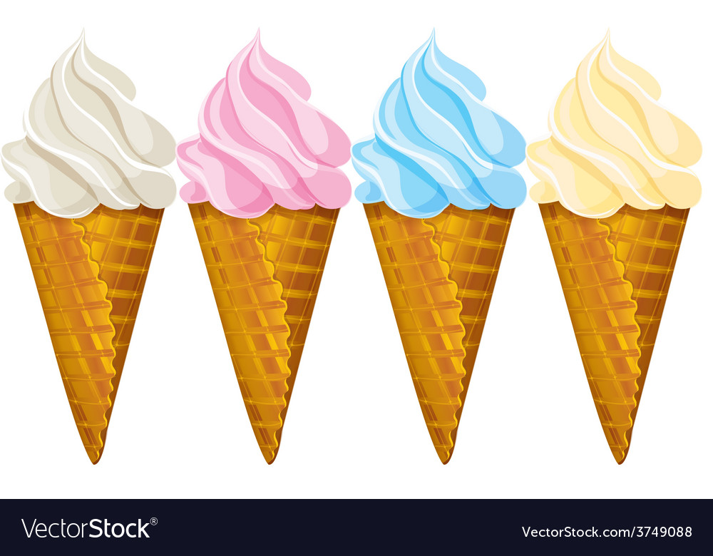 Ice cream waffle cone four different colors vector | Price: 1 Credit (USD $1)