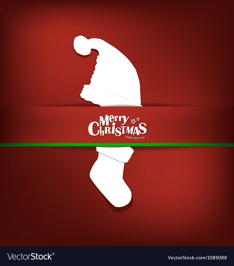Merry christmas greeting card with xmas decoration vector | Price: 1 Credit (USD $1)