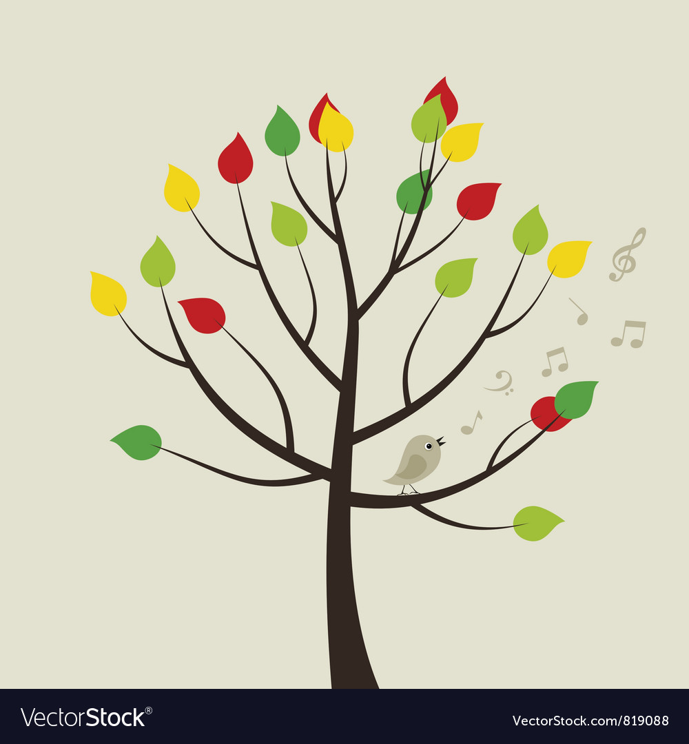 Singing bird on tree vector | Price: 1 Credit (USD $1)