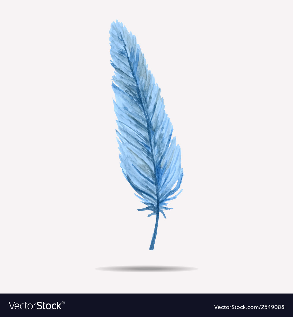 With watercolor feather vector | Price: 1 Credit (USD $1)