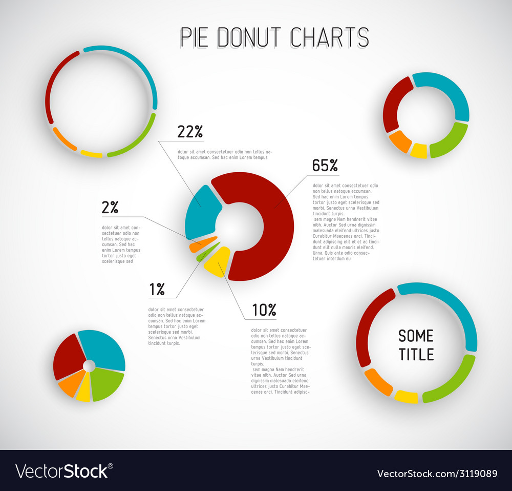 Donut pie chart templates vector | Price: 1 Credit (USD $1)