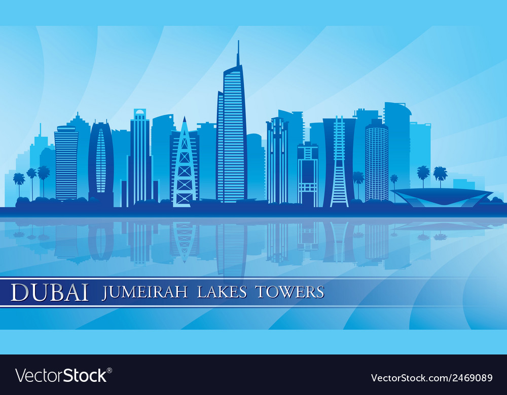 Dubai jumeirah lakes towers skyline silhouette vector | Price: 1 Credit (USD $1)