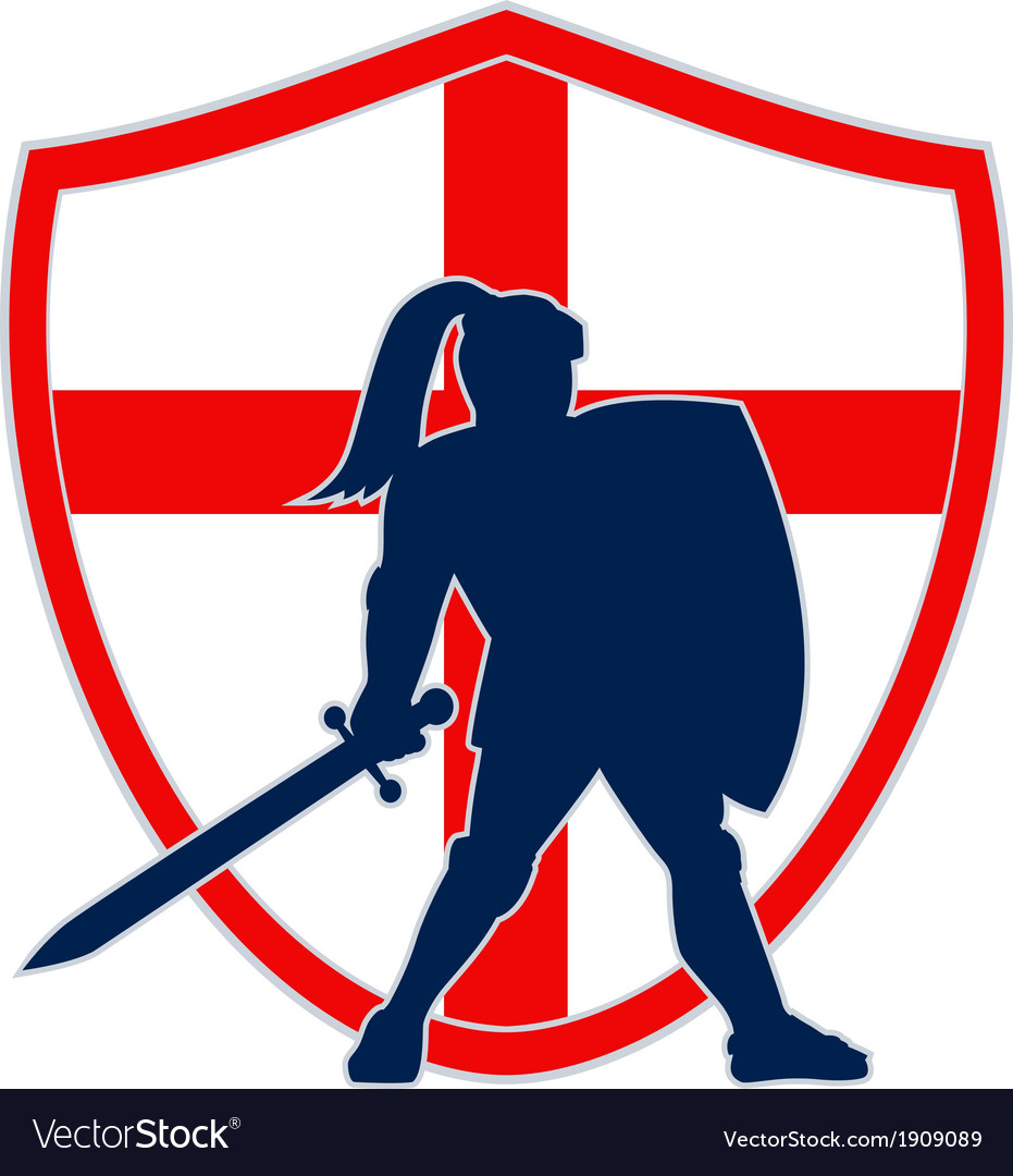 English knight silhouette england flag retro vector | Price: 1 Credit (USD $1)