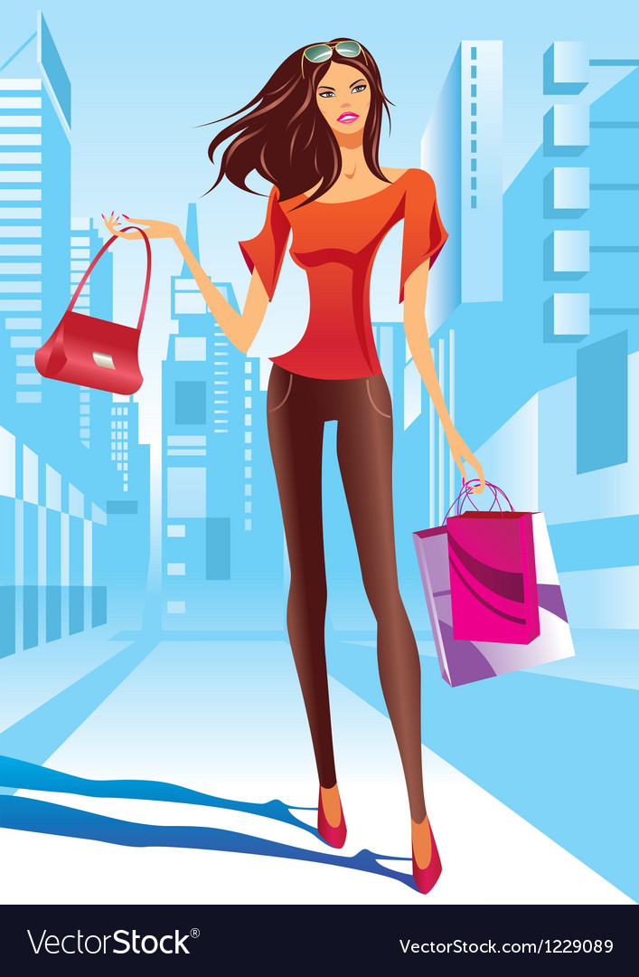 Fashion girl is walking on a street vector | Price: 1 Credit (USD $1)