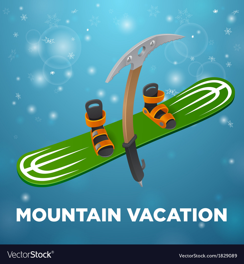 Mountain vacation green snowboard and kirks on vector | Price: 1 Credit (USD $1)
