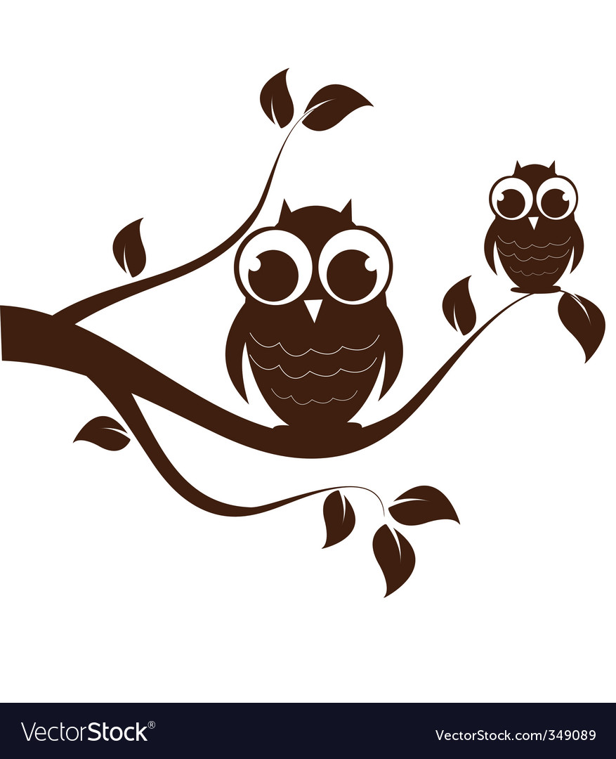 Owls on branch vector | Price: 1 Credit (USD $1)