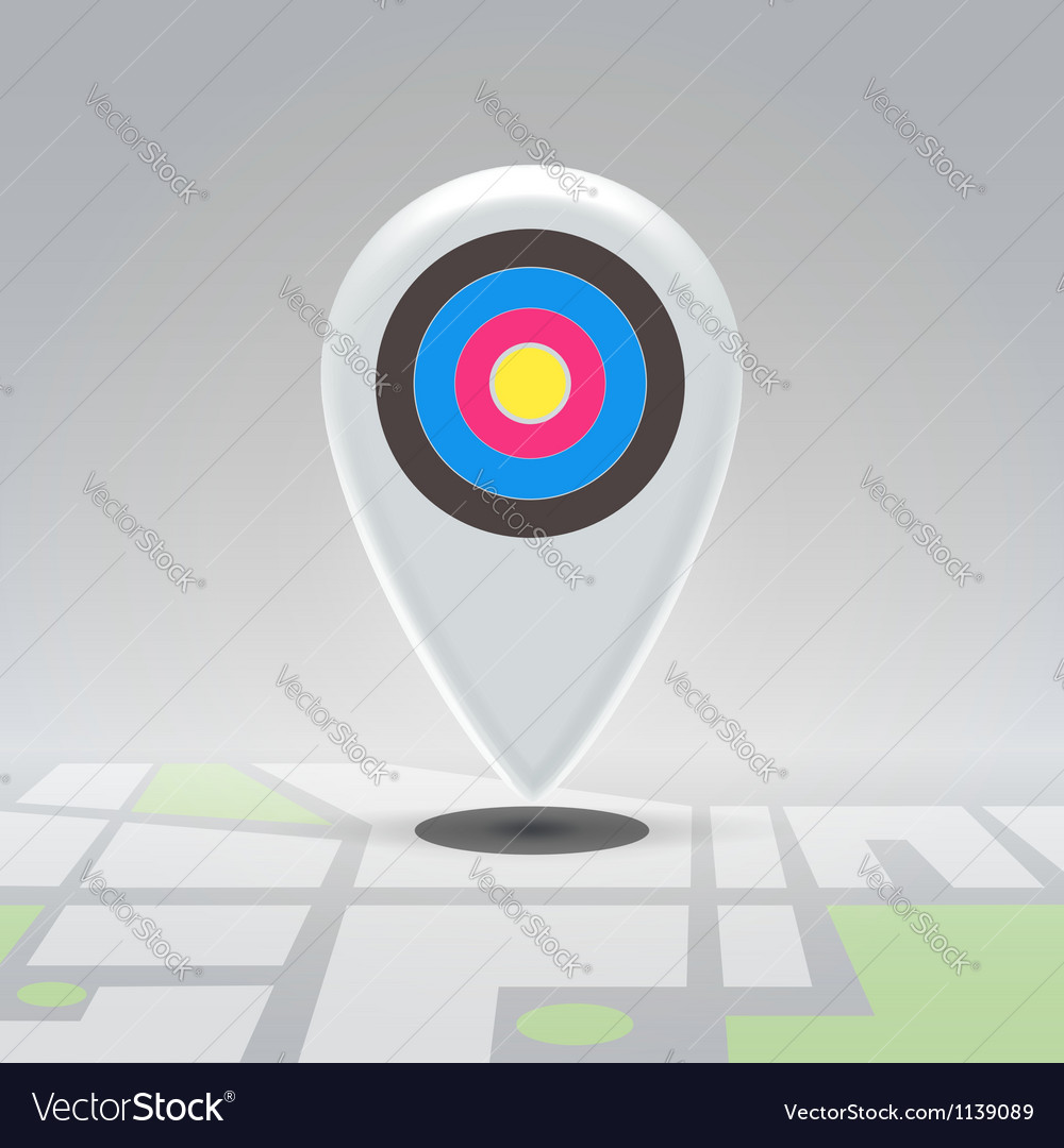 Targeted pin over city block map vector | Price: 1 Credit (USD $1)