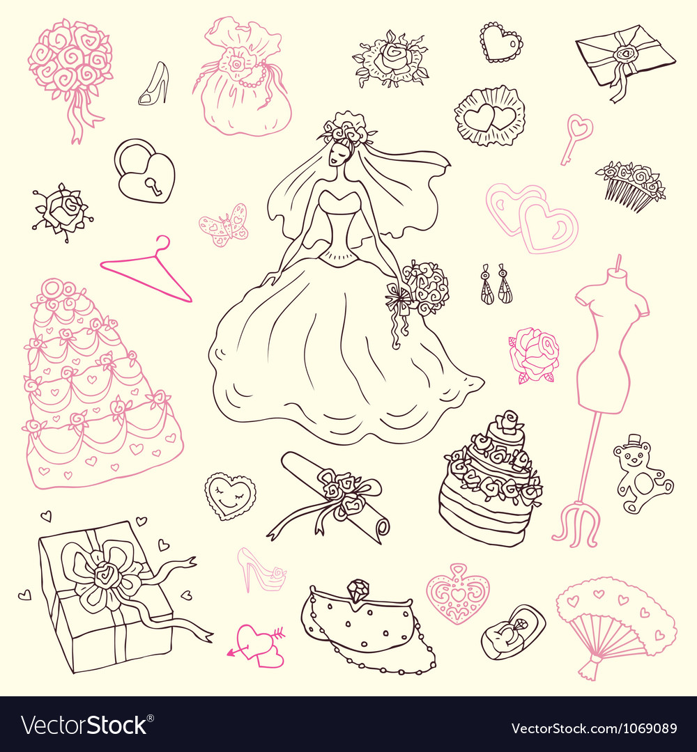 Wedding set hand drawn vector | Price: 1 Credit (USD $1)