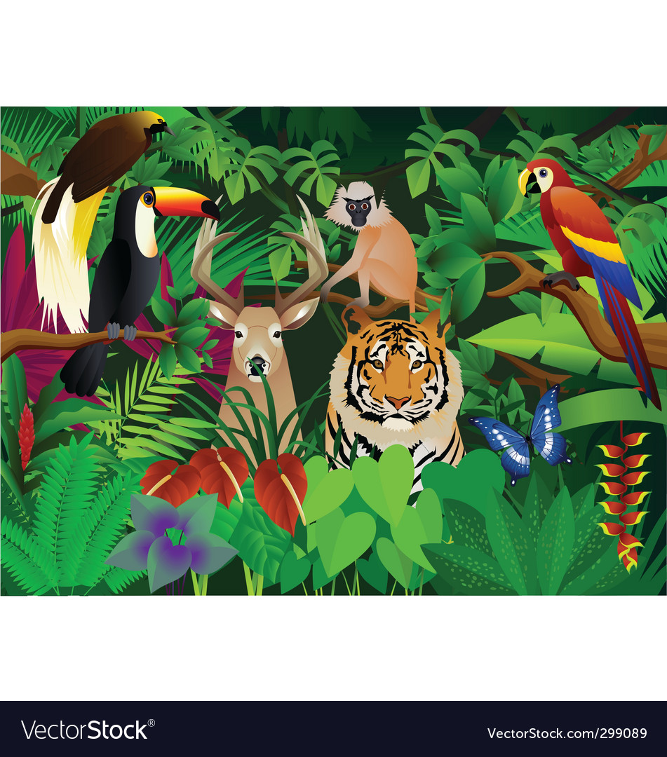 Wild animal in the jungle vector | Price: 3 Credit (USD $3)