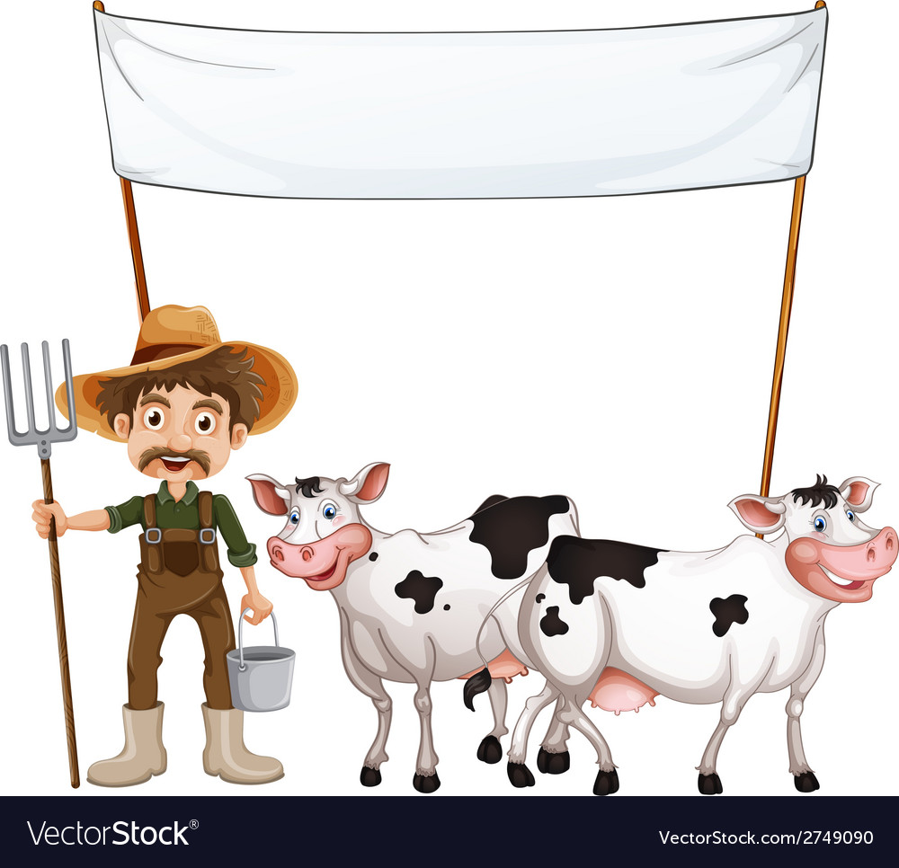 A farmer and his cows near the empty banner vector | Price: 1 Credit (USD $1)