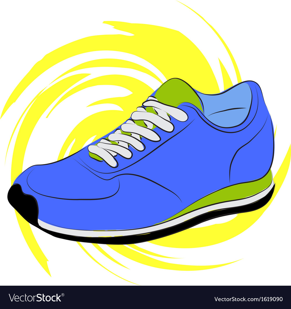 Blue running shoes on a yellow abstract background vector | Price: 1 Credit (USD $1)