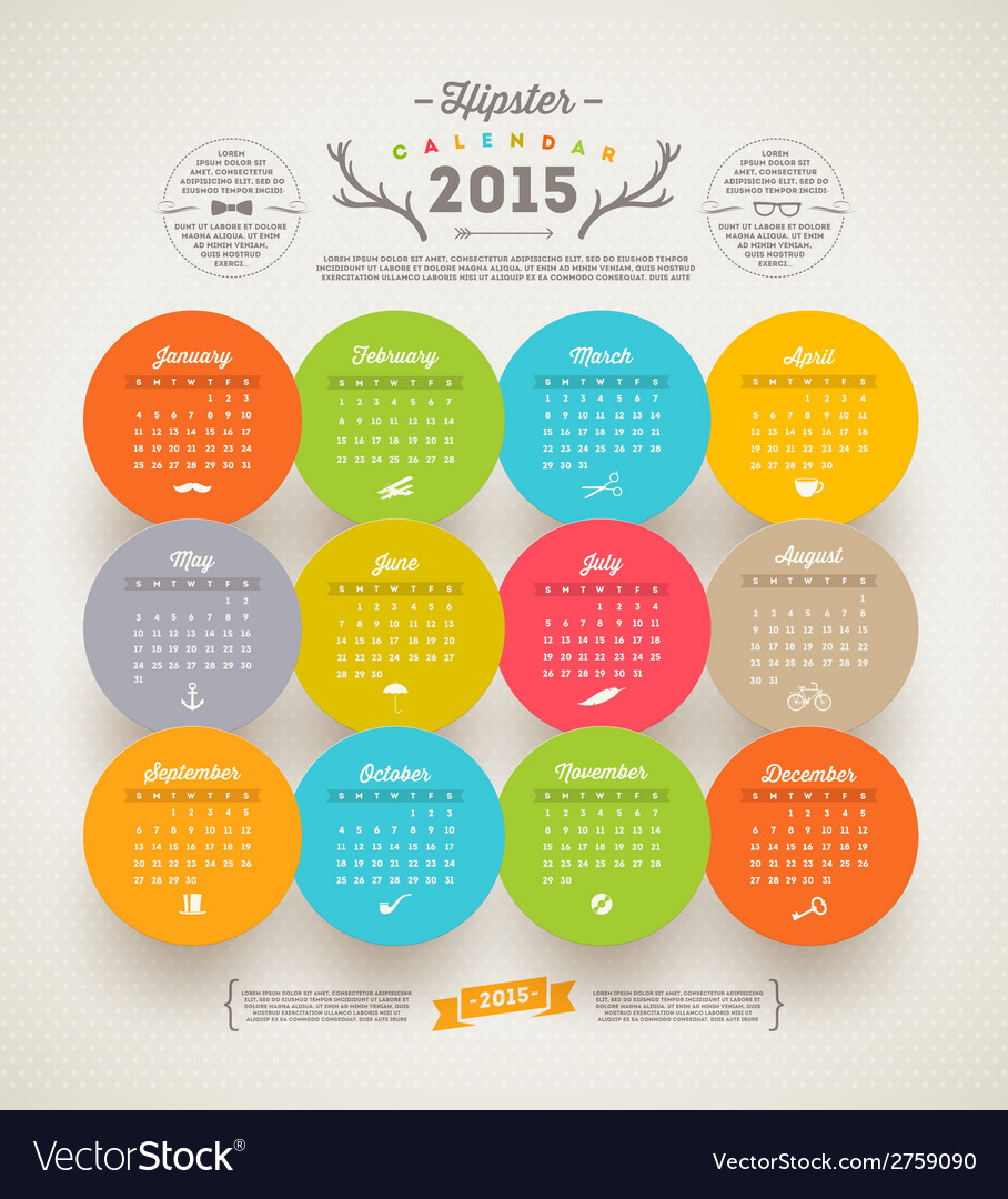 Calendar 2015 with hipster symbols vector | Price: 1 Credit (USD $1)