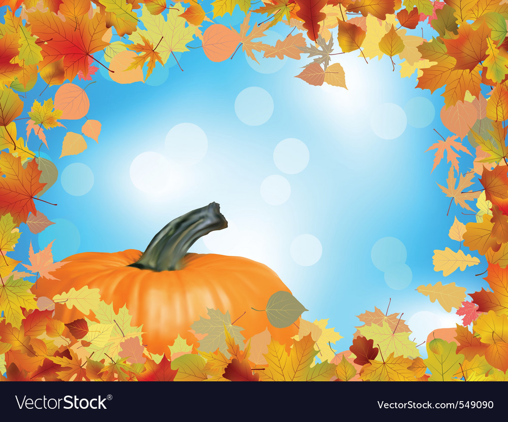 Fall leaves with pumpkin vector | Price: 1 Credit (USD $1)