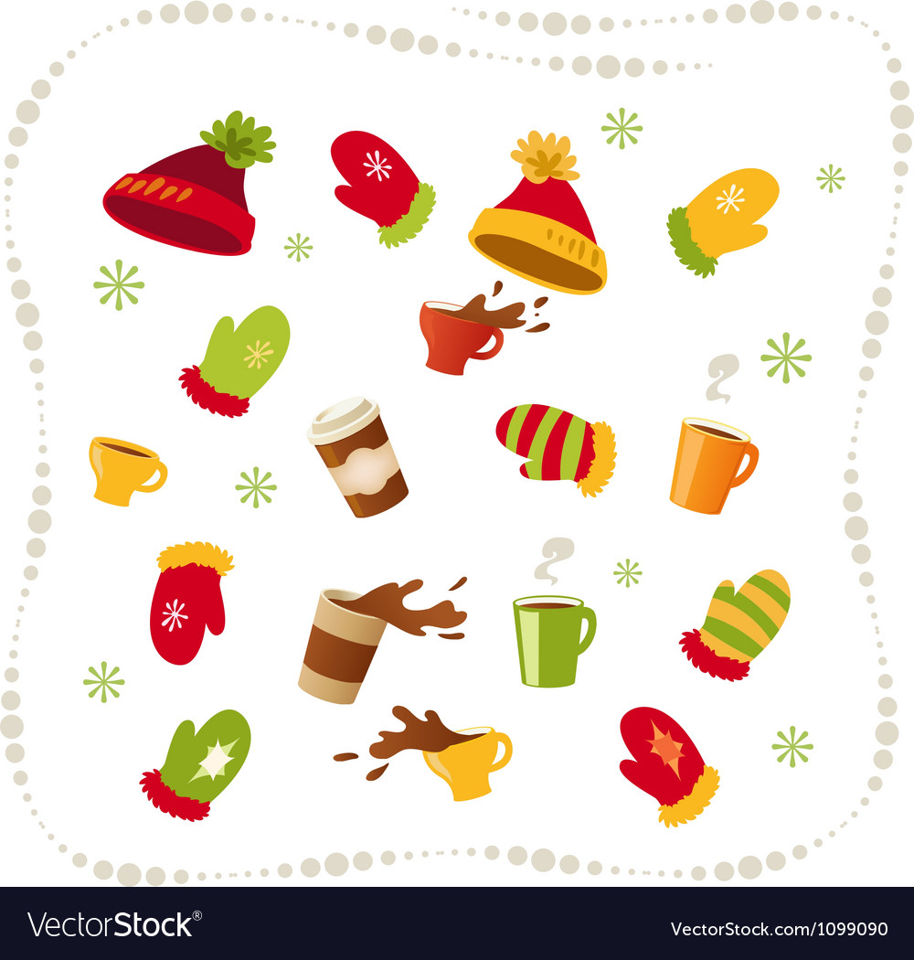 Set winter clothing and drinks vector | Price: 1 Credit (USD $1)