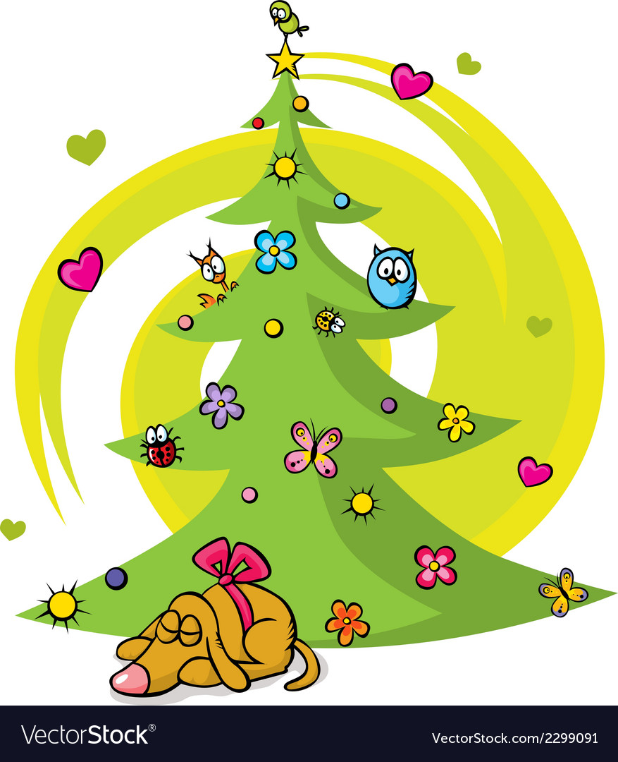 Christmas tree with dog bird flower star and vector | Price: 1 Credit (USD $1)