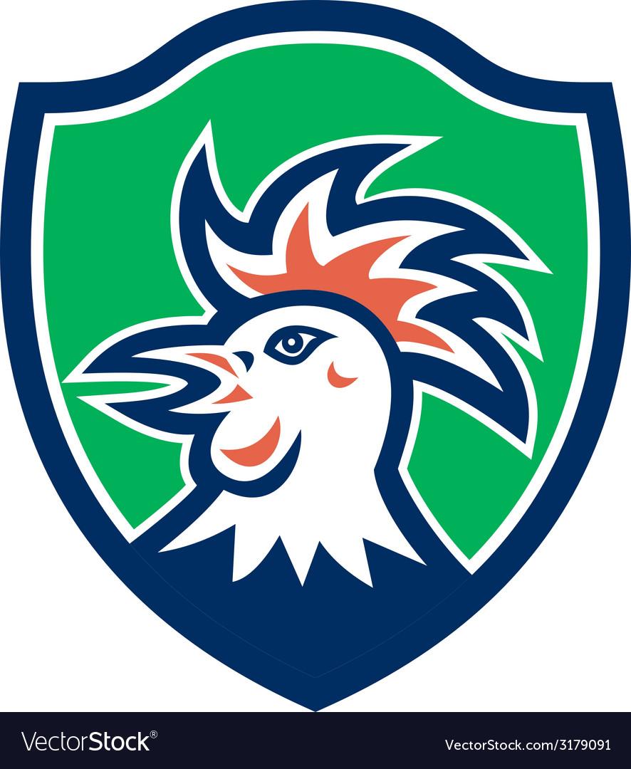 Cockerel rooster head shield retro vector | Price: 1 Credit (USD $1)