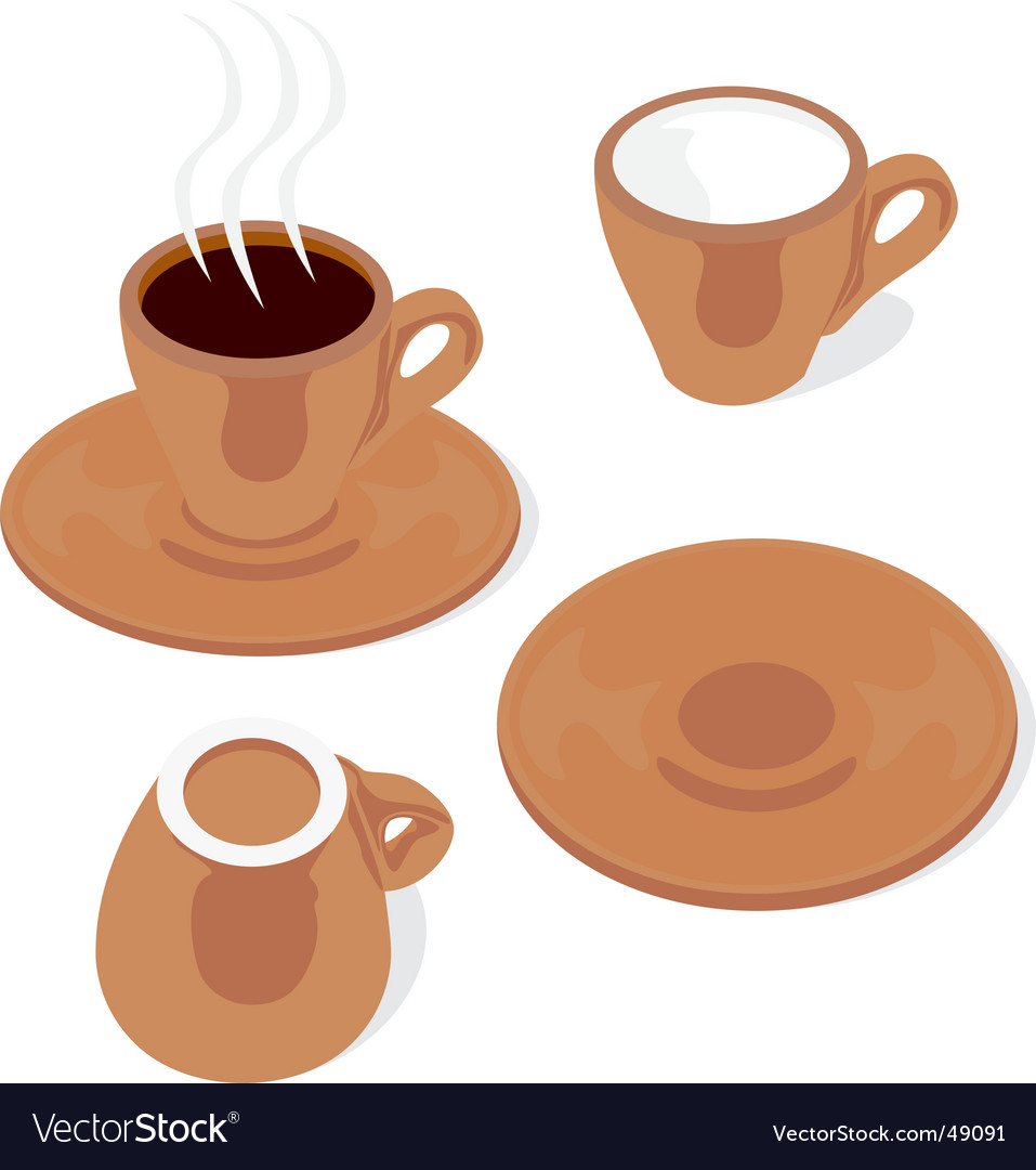 Colored espresso cups and saucers vector | Price: 1 Credit (USD $1)