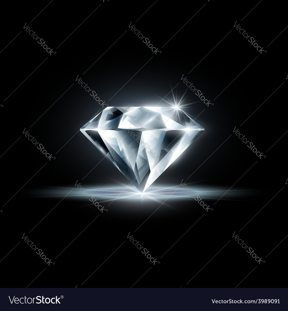 Diamond isolated on black background vector | Price: 1 Credit (USD $1)
